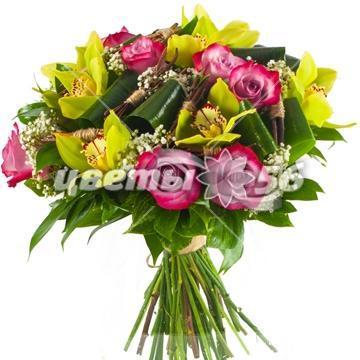 Букеты лайм с орхидеей фото, букет на заказ каллы цена